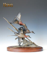 18and039and039 Art Deco Sculpture 3 Duck Flying In The Reed Marsh Bronze Statue
