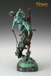 21and039and039 Art Deco Sculpture Woman Galloping Horse Painted Statue