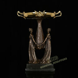 22 Art Deco Sculpture Two Lady Girl Hold Tray Bronze Statue