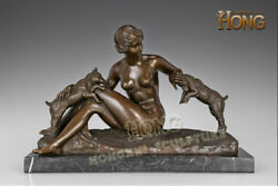 17.2art Deco Sculpture Nude Beauty Girl And Two Sheep Goat Animal Bronze Statue