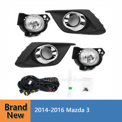 Bumper Fog Lights Driving Lamps With /switch Mazda 3 Fit For 2014-2016 Mazda 3