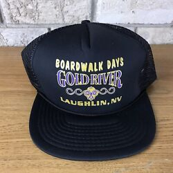 Vintage Boardwalk Days Gold River Nevada Trucker Mesh Hat Cap Snapback Black