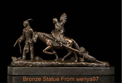 Art Deco Sculpture The Native Family Ride Horse On Migration Statue Signed