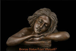 Art Deco Sculpture Lovey Girl Head On Arms Meditation Bronze Statue Signed