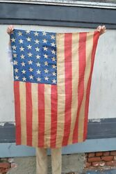 Antique 1890 42 Star American Flag Printed And Sewn
