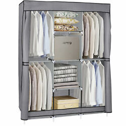 Portable Closet Wardrobe Clothes Rack Storage Organizer With Shelf Fabric