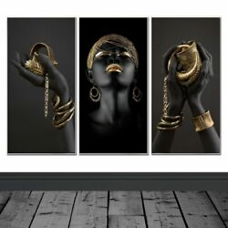 Canvas Painting Wall Art Pictures Wall Poster Home Decor Black Woman Prints Art