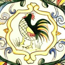 8 Fitz And Floyd Ff Ricamo Hand Painted Rooster Tuscan Motif 8-3/8 Salad Plates