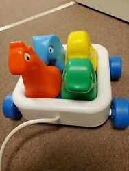 Vintage 1982 Little Tikes Wagon 'n Friends Kids Pull Toy W/ 4 Colorful Animals