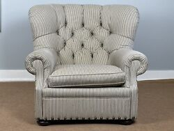 Home Writerand039s Club Chair In Striped Upholstery With Matching Pillow