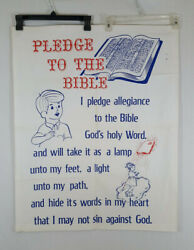 Extremely Rare Pledge To The Bible School House Cloth Poster Flag 1940s