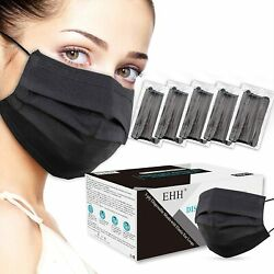 10/50/100 Pcs Black Disposable Face Mask Non Medical 3-ply Earloop Dust Cover
