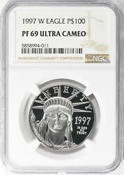1997-w 100 One-ounce Platinum American Eagle Ngc Proof-69 Ultra Cameo