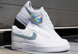 Nike Womens Air Force 1 Low White Multi Color Iridescent Swoosh Cj1646-100 New