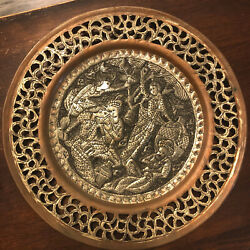 Antique Persian Copper W/silver Tray W/queen Esther's Wine Banquet Haman Purim