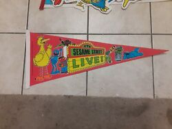 Vintage Sesame Street 1980s Pennant Flag Lot Of 4 With 2 Signed Autograph Rare