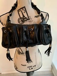 Vintage Givenchy Hobo Small Citrouill Buckle Black Patent Leather Hand Bag $99.99