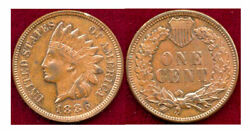1886 Type2 1c Brown Toning Gold Color-indian Head Cent++