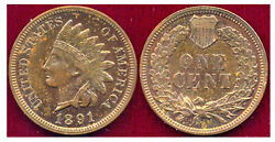 1891 Rb 1c Red-brown Toning Gold Color-indian Head Cent++