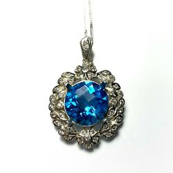 6.25cts Natural Swiss Blue Topaz 925 Sterling Silver / 9ct 14k 18k Gold Pendant