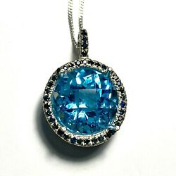 13.25cts Natural Swiss Blue Topaz 925 Sterling Silver / 9ct 14k 18k Gold Pendant