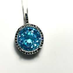 14.7cts Natural Swiss Blue Topaz 925 Sterling Silver / 9ct 14k 18k Gold Pendant