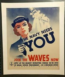 Wwii Ww2 Original War Poster The Navy Needs You Join The Waves Now Uncle Sam