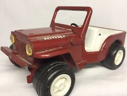 Vintage 1966 Tonka Toy Jeep Red Pressed Metal Rollong Car Folding Windshield