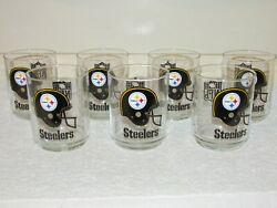 7 Pittsburgh Steelers Nfl 4 Libbey Drinking Glasses - Set Of 7 - Nice
