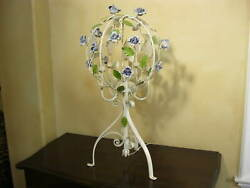 Vintage Italian Tole Round White Floral Table Lamp French Country Light