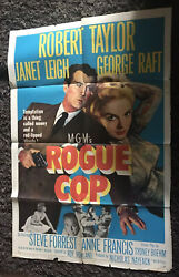 Rogue Cop 1sh 1954 Art Of Robert Taylor With Gun And Sexiest Janet Leigh