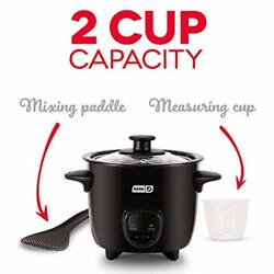 Mini Rice Cooker Steamer With Removable Nonstick Pot Keep Warm Black 2 Cups Dash