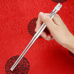 999 Sterling Silver Chinese Chopsticks Square With 福 + Dragon Head 213mm 40g