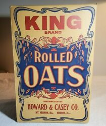 Large Antique King Brand Rolled Oats Box Distributed By Howard And Casey Co Amazin