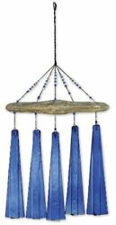 Natural Wood Glass Wind Chime Home Garden Hanging Accent Decoration Cobalt Blue