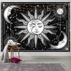 Modern Black Tapestry Sun And Moon Wall Hanging Textile Art For Home Decoration