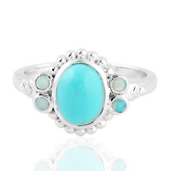 1.83ct Turquoise Cocktail Ring 925 Sterling Silver Precious Opals Jewelry