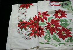 2 Vintage Christmas Red Poinsettia Pinecone Holly Candles Tablecloths 80 X 60