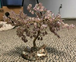 Vintage Sculpture Bonsai Tree Made Out Of Jewelry Wire And Crystals Healing