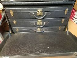 Antique Car Trunk With Three 3 Suitcases - Laskey - Rare Find