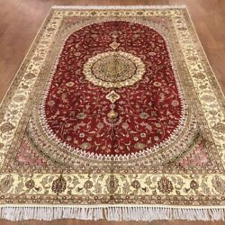 Yilong 6'x9' Handknotted Silk Carpet Home Decor Red Oriental Area Rug Wy367c