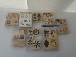 1 Used Lot Of 45 Stampin Up Rubber Wood Mount Stamps Various Years 2001-2007 Sr