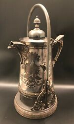 Antique Meriden B. Company Silver Plated Tilting Pitcher On Stand