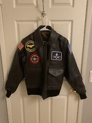 Us Wings Brown Leather Custom Bomber Jacket - Top Gun Naval Aviator Patches