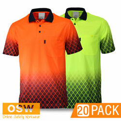 20 X Hivis Sublimated Metal Mesh Short Sleeve Work Safety Cool Breathable Polos