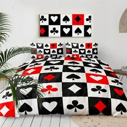 Red Black Poker Casino Game King Queen Twin Quilt Duvet Pillow Cover Bed Set