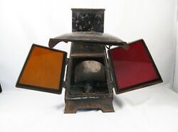 Antique The Refulgent Hand Held Tin Candle Lantern W/ Red And Amber Glass Lens
