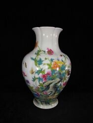 12.2 China Antique Qing Dynasty Qianlong Mark Porcelain Butterfly Flower Vase