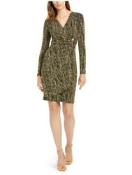 Calvin Klein Womens Black Gold Long Sleeve Above The Knee Wrap Dress Size 8