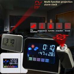 Digital Projection Weather Tempreture Alarm Clock LCD w LED Backlight Snooze